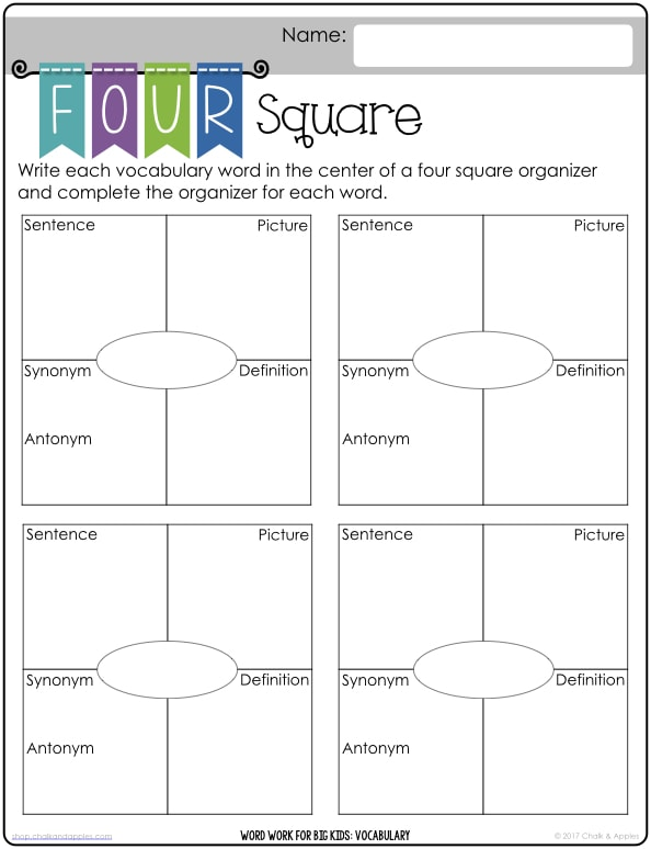 Word Work Vocabulary Printables