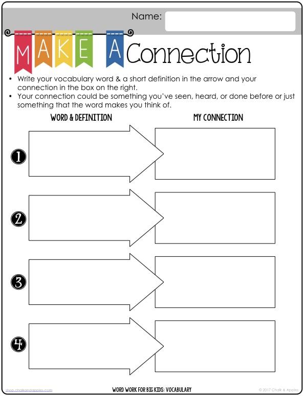 Word Work Vocab Worksheets.017 - Word Work for Big Kids: PRINTABLES for Vocabulary