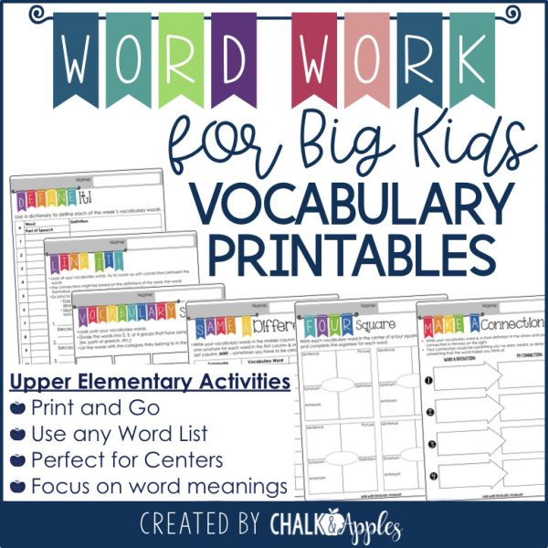 Word Work for Big Kids Printables