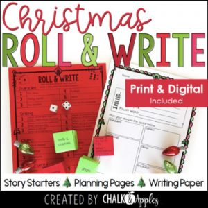 chirstmas - Christmas Writing Activity - Roll & Write Center - Distance Learning