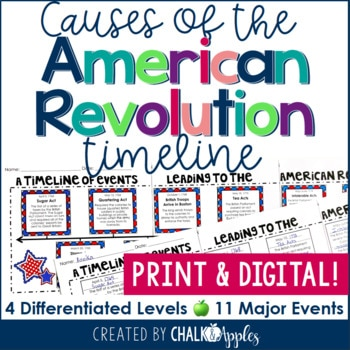 print and digital - Causes of the American Revolution Timeline - Print & Digital Included