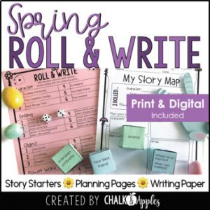 spring print and digital - Spring Writing Activity - Roll & Write Center - Distance Learning